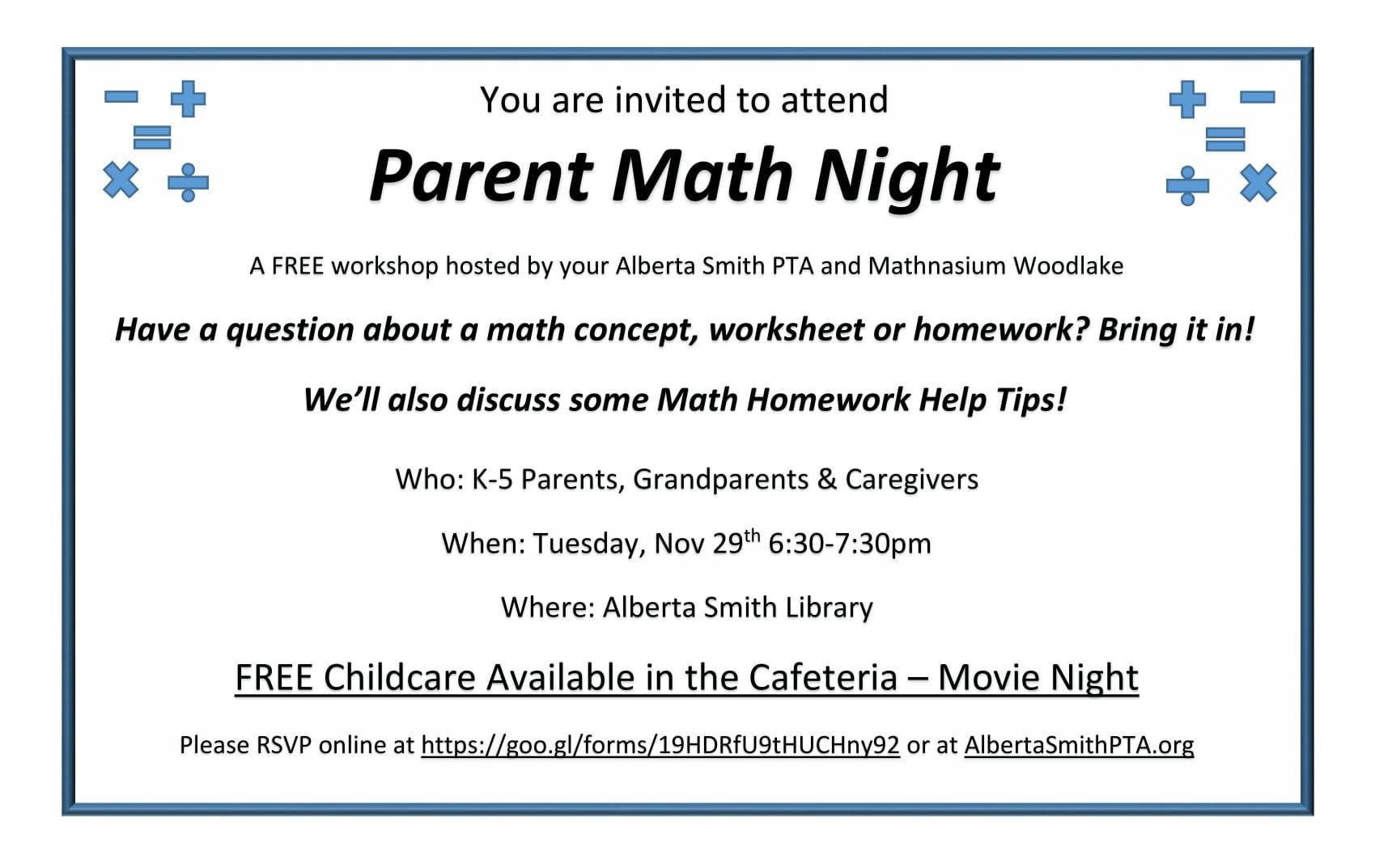 Math Night Flyer Print-1